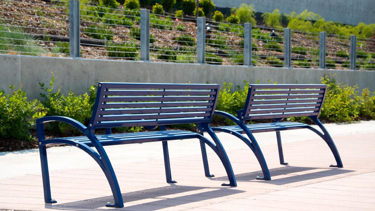 modena park bench - all metal - wishbone site furnishings