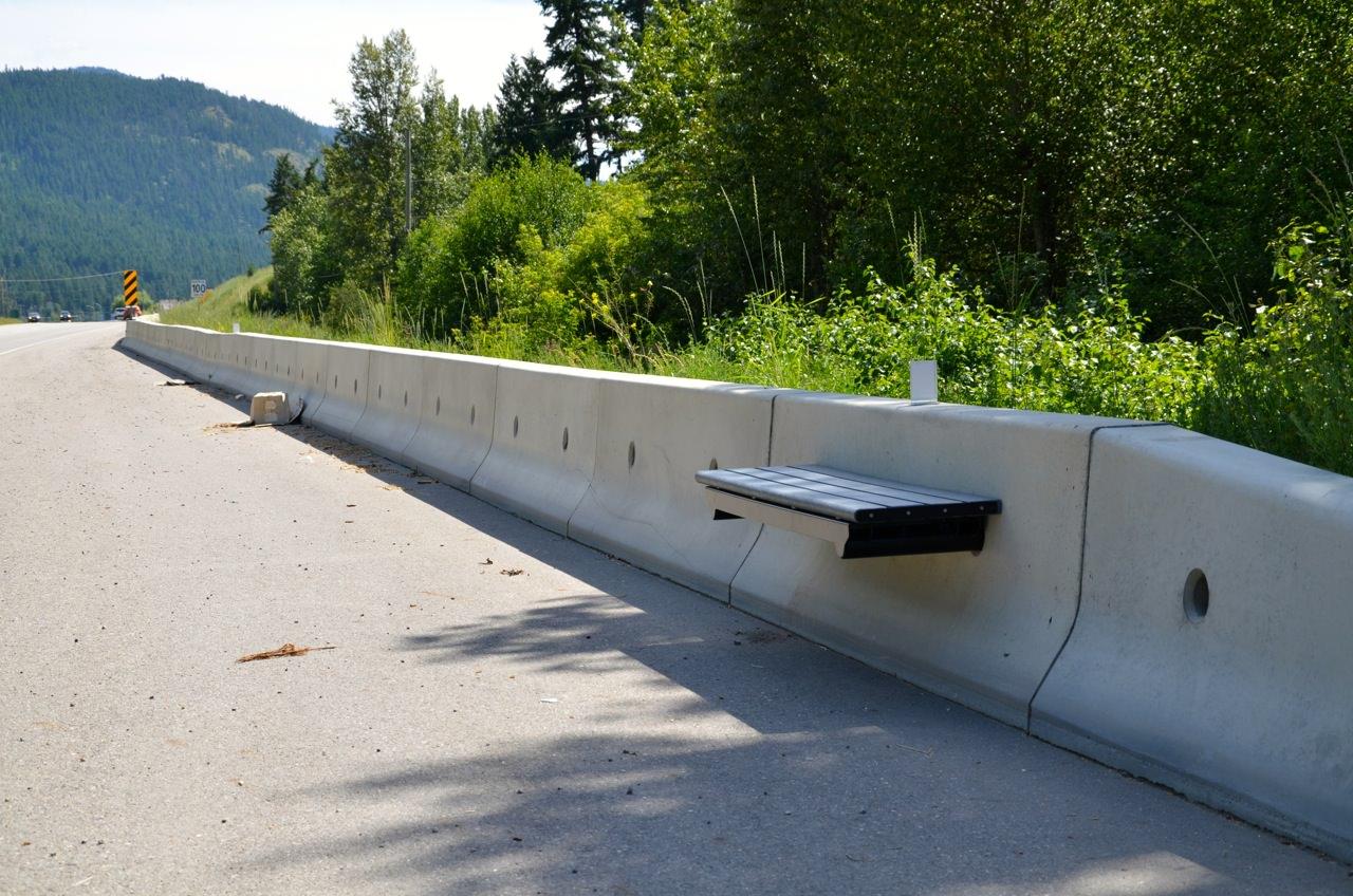 Concrete Pole Barriers : No post jersey concrete barrier bench wishbone site