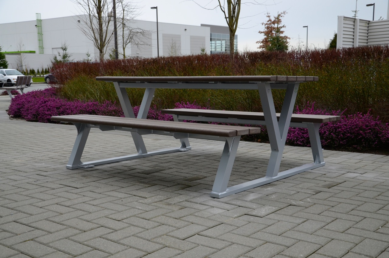 Bayview Picnic Table Wishbone Site Furnishings - One sided picnic table