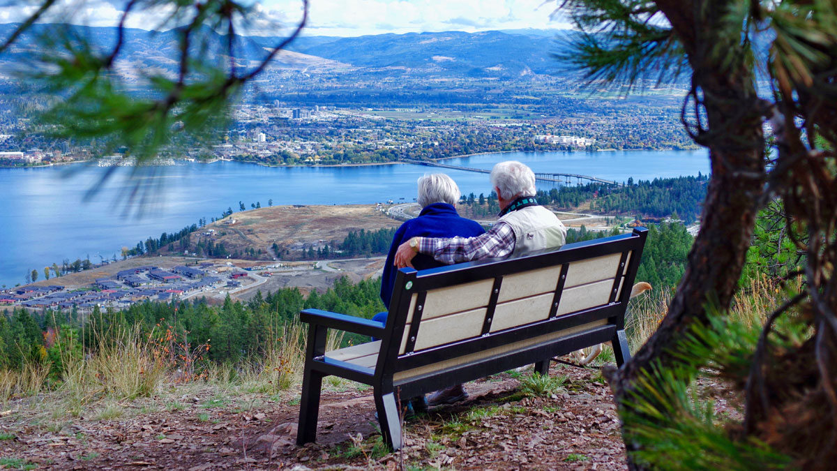 Mom and Dad enjoying the view on Rutherford Bench of Kelowna 1