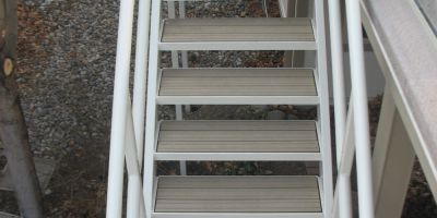 x 4 Sand Color Re-plast Lumber for Consumer Stairs and Landing 2