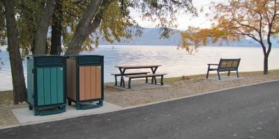 Beselt Solid Top Waste receptacles Parker Picnic Table and Rutherford Wide Body Bench Peachland BC