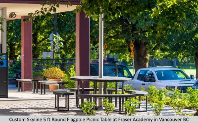Custom Skyline 5 ft Round Flagpole Picnic Table at Fraser Academy in Vancouver BC