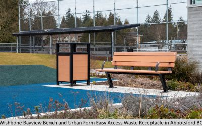 Wishbone Bayview Bench and Urban Form Easy Access Waste Receptacle in Abbotsford BC