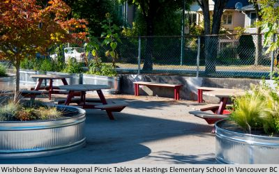 Wishbone Bayview Hexagonal Picnic Tables at Hastings Elementary School in Vancouver BC