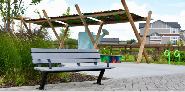 Wishbone Bayview Park Bench at the Hills at Charlesworth in Edmonton Alberta (1)
