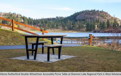 Wishbone Double Wheelchair Accessible Rutherford  Picnic Table at Shannon Lake Regional Park in West Kelowna BC