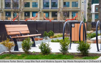 Wishbone Parker Bench, Loop Bike Rack and Modena Square Top Waste Receptacle in Chilliwack BC (1)