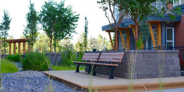 Wishbone Parker Benches (2) at Axess Townhomes in Calgary Alberta
