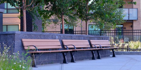 Wishbone Parker Benches (3) at Axess Townhomes in Calgary Alberta