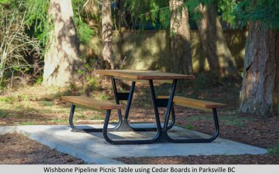 Wishbone Pipeline Picnic Table using Cedar Boards in Parksville BC