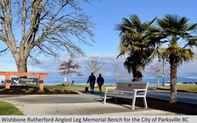 Wishbone Rutherford Angled Leg Memorial Bench in Parksville BC