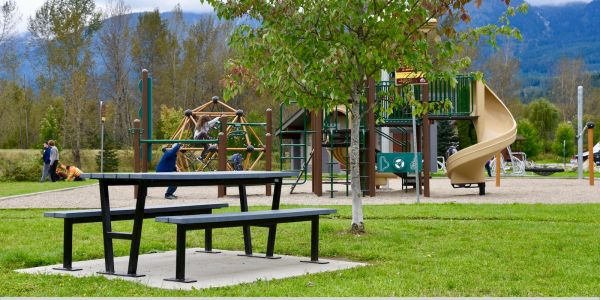 Wishbone Rutherford Picnic Table at the Skateboard Park in Revelstoke BC (1)