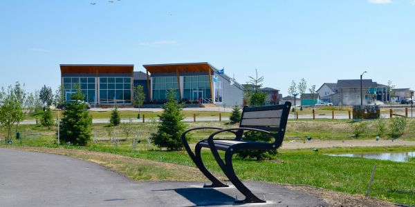Wishbone TENAJ Bench at The Discovery Centre At Harmony in Rocky View County Alberta (2)