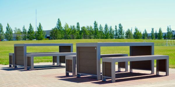 Wishbone Urban Form Picnic Tables at Kings University in Edmonton Alberta